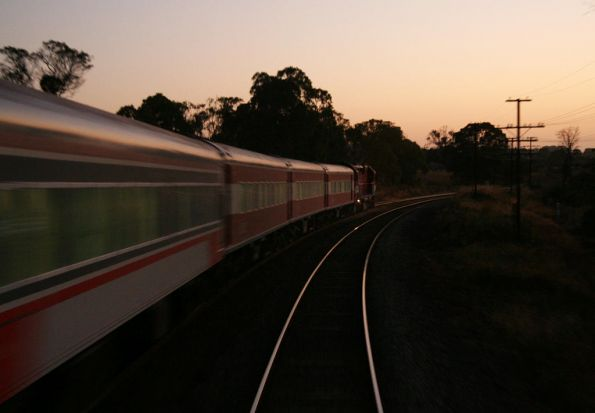 V/Line pass heads for Melbourne outside Heathcote Junction