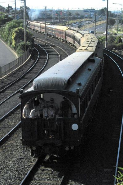 The train leaving Geelong Station, with State Car No. 4 at the rear.