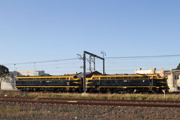 B74 leads S303 at Sunshine on an up light engine move from SRHC Seymour to North Dynon