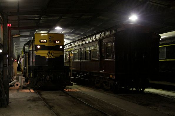 T378 fired up in the shed, alongside parlor car Yarra under repair