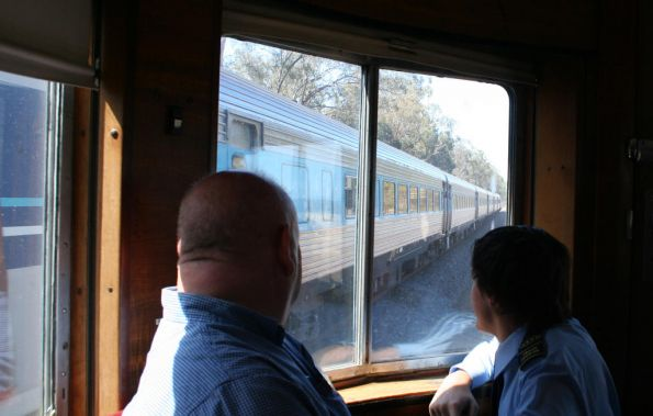 Parlor Car patrons watch the XPT finally catch up