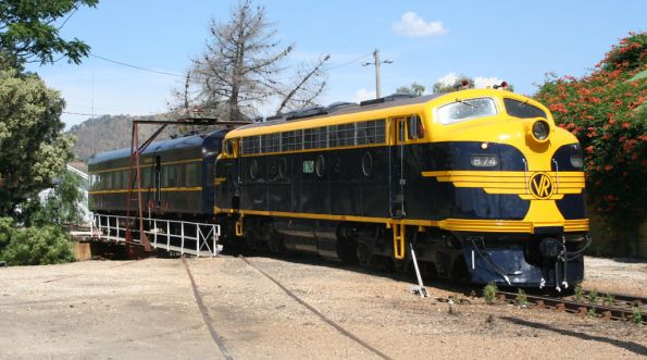 B74 and Parlor Car return from the turntable at Wodonga