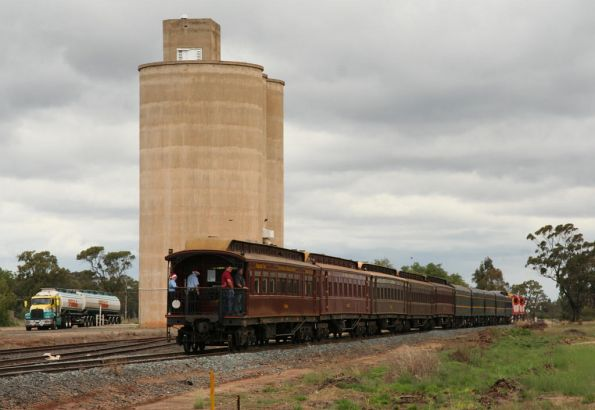 Passing a Toll truck and the silos at Katunga