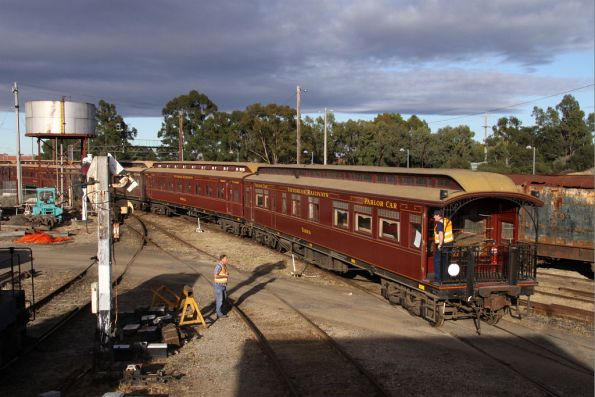 Parlor car 'Yarra' bring up the rear of the wooden half