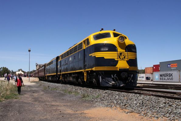 B74 and S303 head the train on arrival at Tocumwal