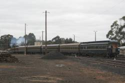 The train being shunted from the depot into Seymour station