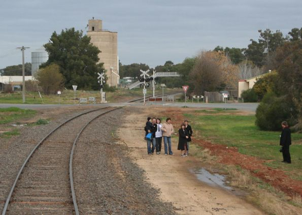 Locals watch the train at Numurkah
