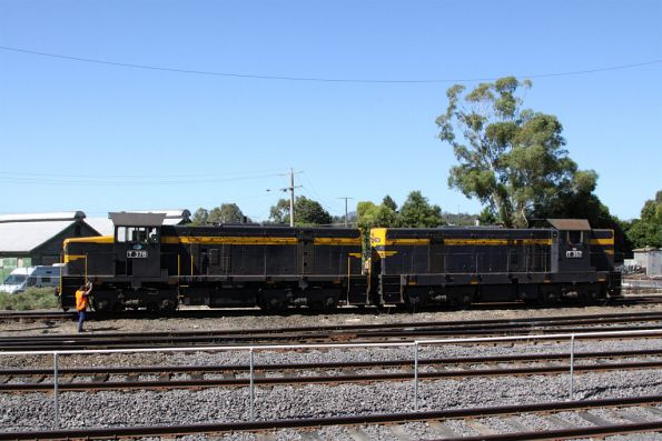 T378 and T357 in the depot headshunt, ready to return to Melbourne