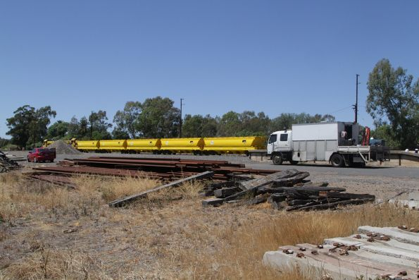 Five new BGGX/BGGY grain hoppers at Benalla, awaiting transfer north to NSW