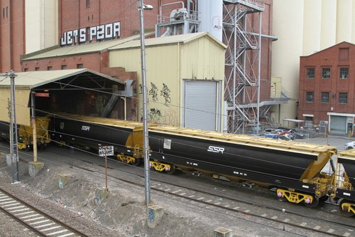 BGGX (ex VHGY) grain wagons awaiting unloading at Kensington