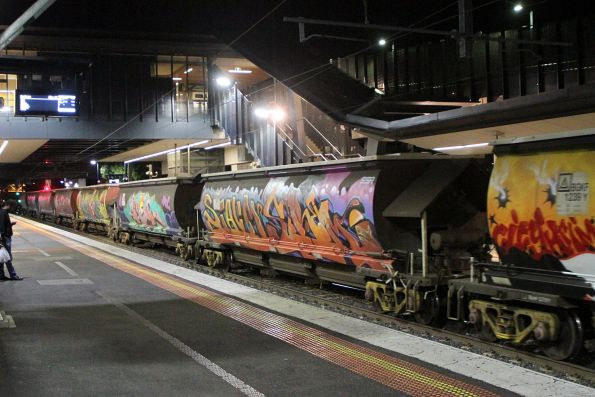 SSR BGKF grain wagons repainted for the 'Can't Do Tomorrow' street art festival