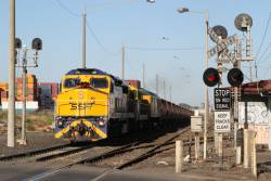 C504, 4911 and RL302 lead 3KC8 northbound empty grain from Geelong to Junee through Brooklyn