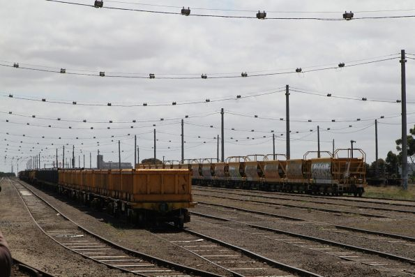 Spoil and ballast wagons stabled at Tottenham Yard