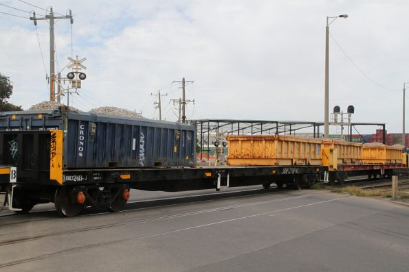 Open top containers loaded with ballast for weekend trackwork at Camberwell