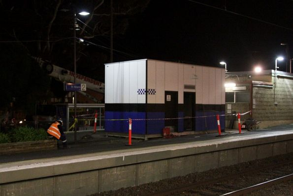 PSO pod at St Albans station ready to be relocated, as part of the grade separation works