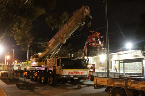 Crane getting ready to move the PSO pod at St Albans station, as part of the grade separation works