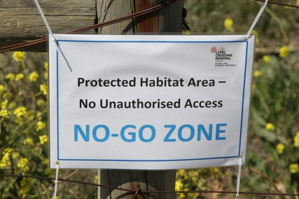 'Protected Habitat Area No-Go Zone' sign at Furlong Road, Ginifer