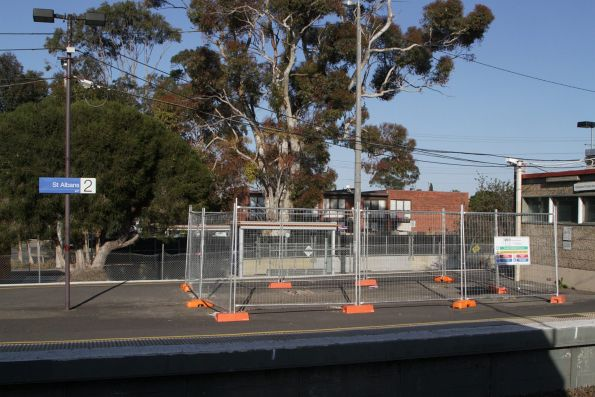 Temporary fencing surrounds the former PSO pod location on St Albans platform 2 and 3