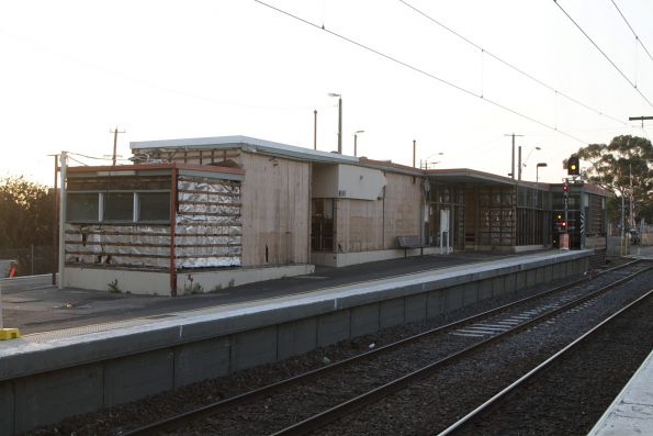 Pebblecrete cladding panels stripped from the St Albans station building