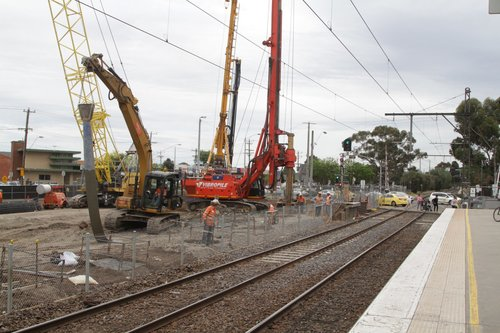 Piling works commence at the down end of the removed platform 2