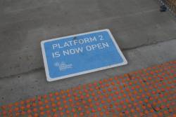 'Platform 2 is now open' sign at St Albans