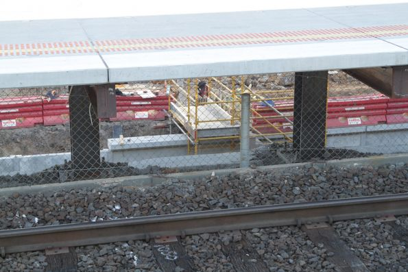 Looking down to the platform face taking shape at the new low level St Albans station
