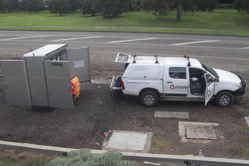 Rail staff prepare new signalling equipment near Ginifer station