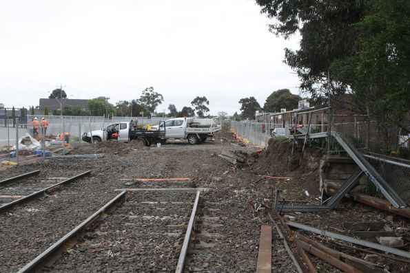 Remnants of track leading north of the old St Albans station