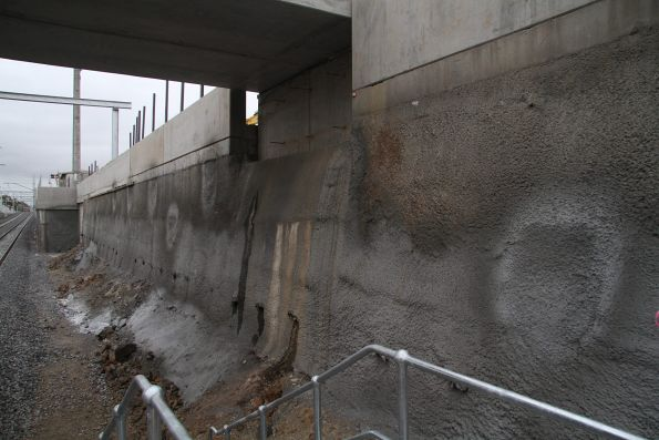 Additional soil nailing in the cutting walls at the up end of St Albans, now covered with shotcrete