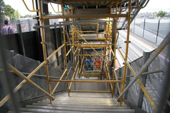 Stairs to St Albans platform 1 closed to allow the roof overhead to be completed