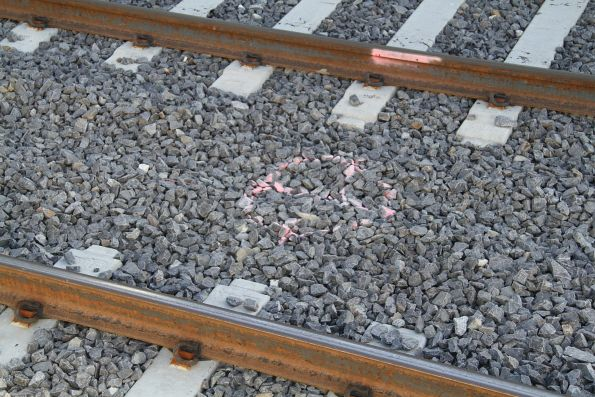 One of many 'pit' markings between the platform tracks at St Albans