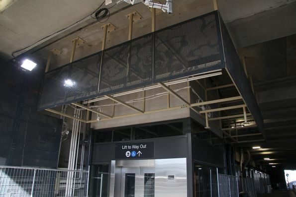 Ceiling panels being installed around the lift at St Albans station