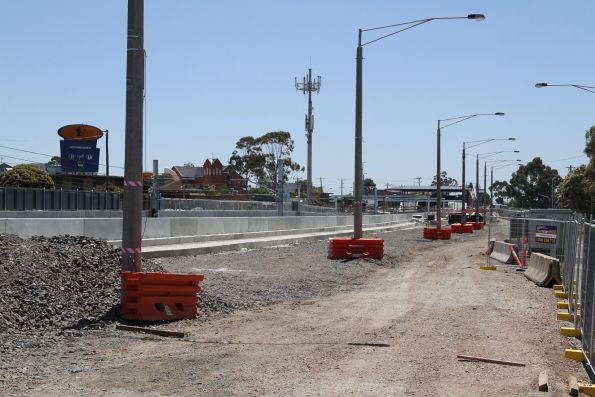 Retaining wall still to be completed at the south-east side of St Albans station