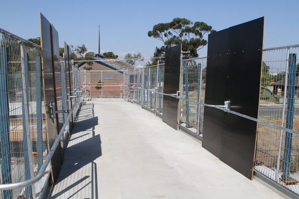 Temporary parapets and anti-throw screen at the Ruth Street footbridge