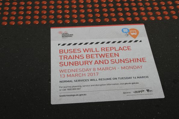 Notice of upcoming closure on the Sunbury line - Wednesday 8 March to Monday 13 March, to finish off works at Ginifer and St Albans
