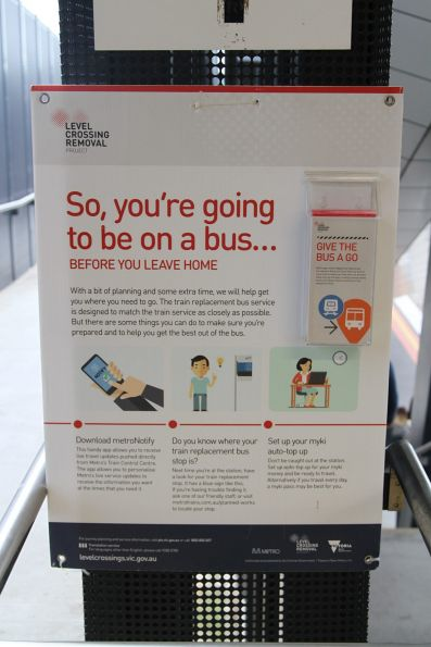 'So, you're going to be on a bus...' poster at Sunshine station