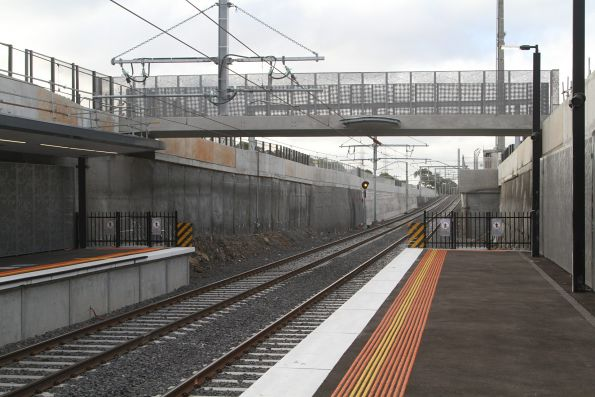 Pedestrian bridge completed but not open to the public, at the up end of St Albans station
