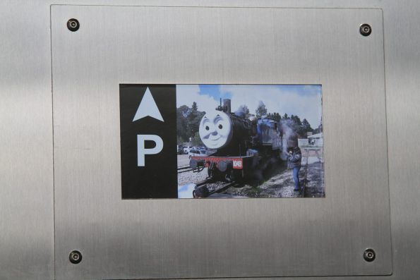 Thomas the Tank Engine features in the loop of pictures displayed inside the lift at St Albans station