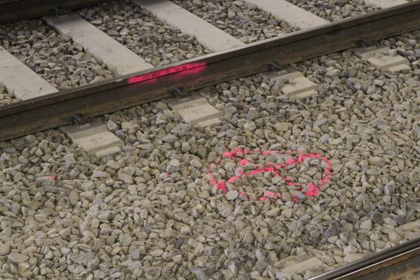 Future drainage pit marked between the tracks at St Albans station