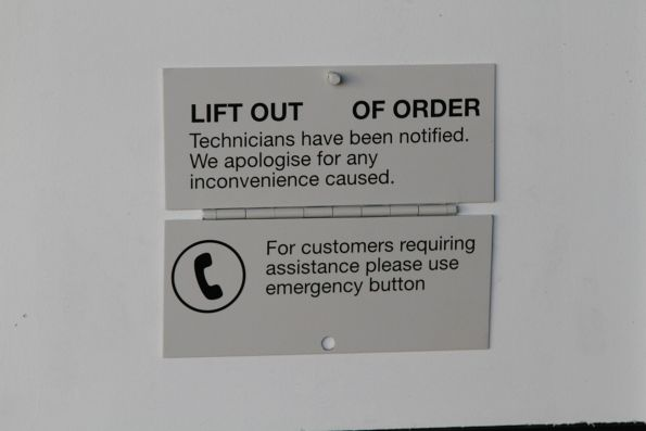 Unlocked 'Lift out of order' sign flapping around at Ginifer station