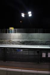 Floodlights illuminate the tracks at Ginifer station during trackwork