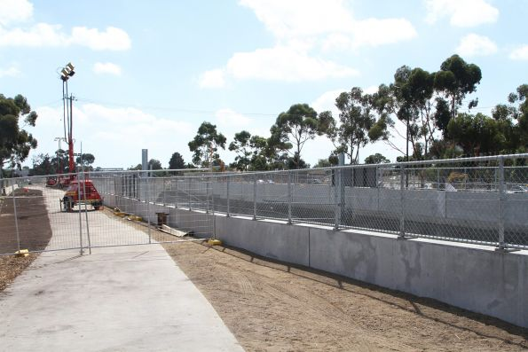 Retaining walls in place along the rail cutting north-west of St Albans station