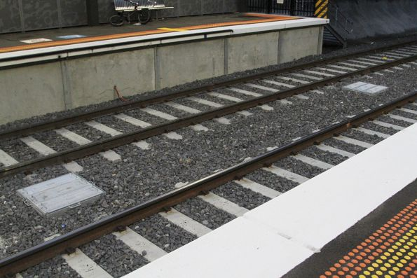 Drainage pits in place between the tracks at St Albans station