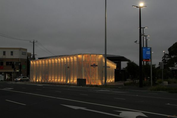 Station building at Ginifer lit up by night