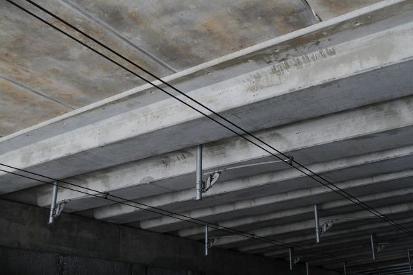 Overhead wires supported beneath the Furlong Road overpass at Ginifer