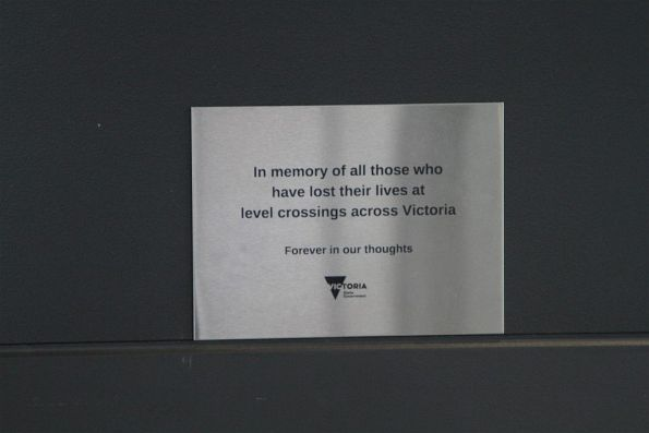 'In memory of all those who have lost their lives at level crossings across Victoria' plaque at Ginifer station