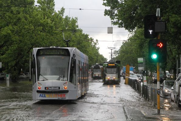 Flooded tram tracks on St Kilda Road
