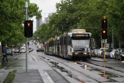 B2.2105 northbound on route 6 leads a queue of stopped trams at St Kilda and Toorak Roads