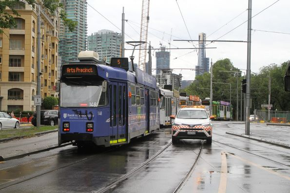 Yarra Trams operations car heads south at St Kilda and Toorak Roads