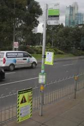 Notice of St Kilda Road tram track works at stop 115 on route 55 along Kings Way